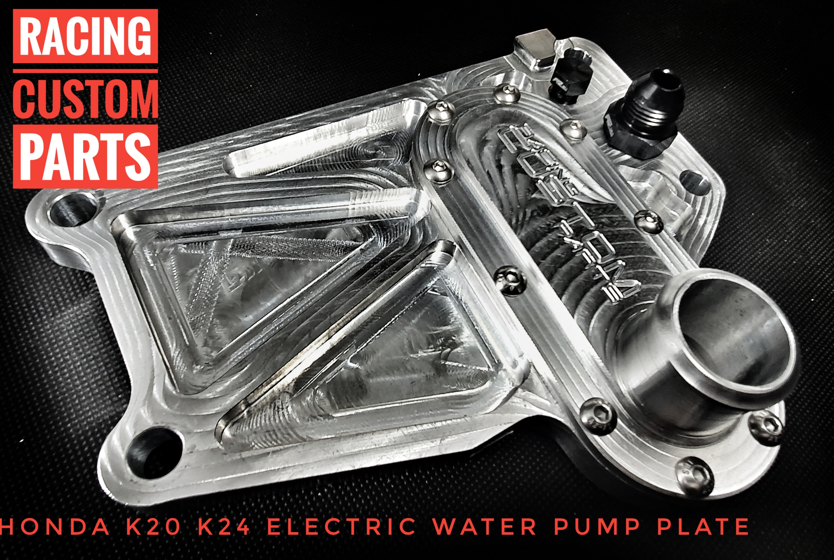 Honda K20 K24 electric water paump adapter racing custom parts billet cnc