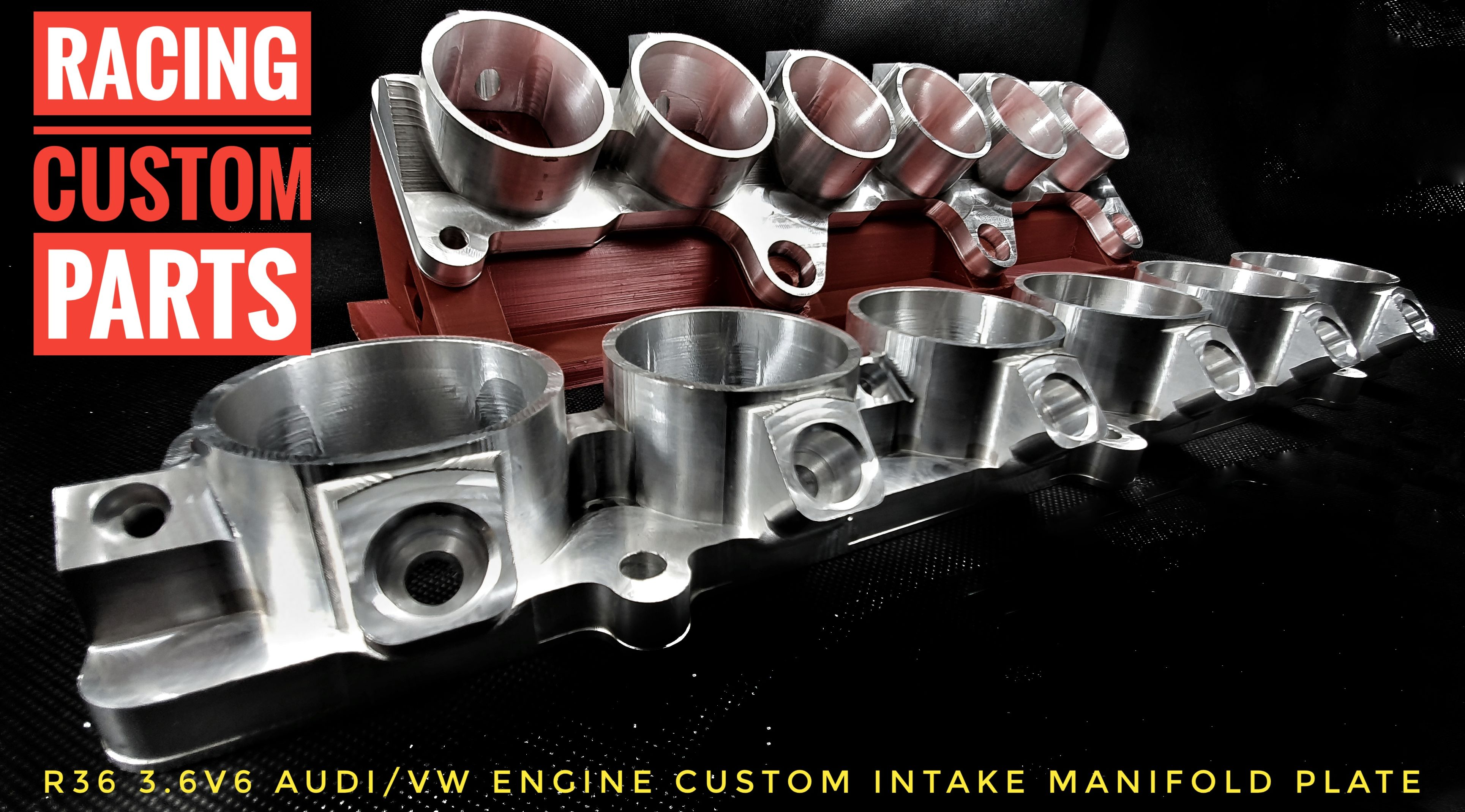 R36 3,6 v6 Audi VW engine billet cnc intake manifold plate with extra fuel injectors billet cnc racing custom parts passat r36