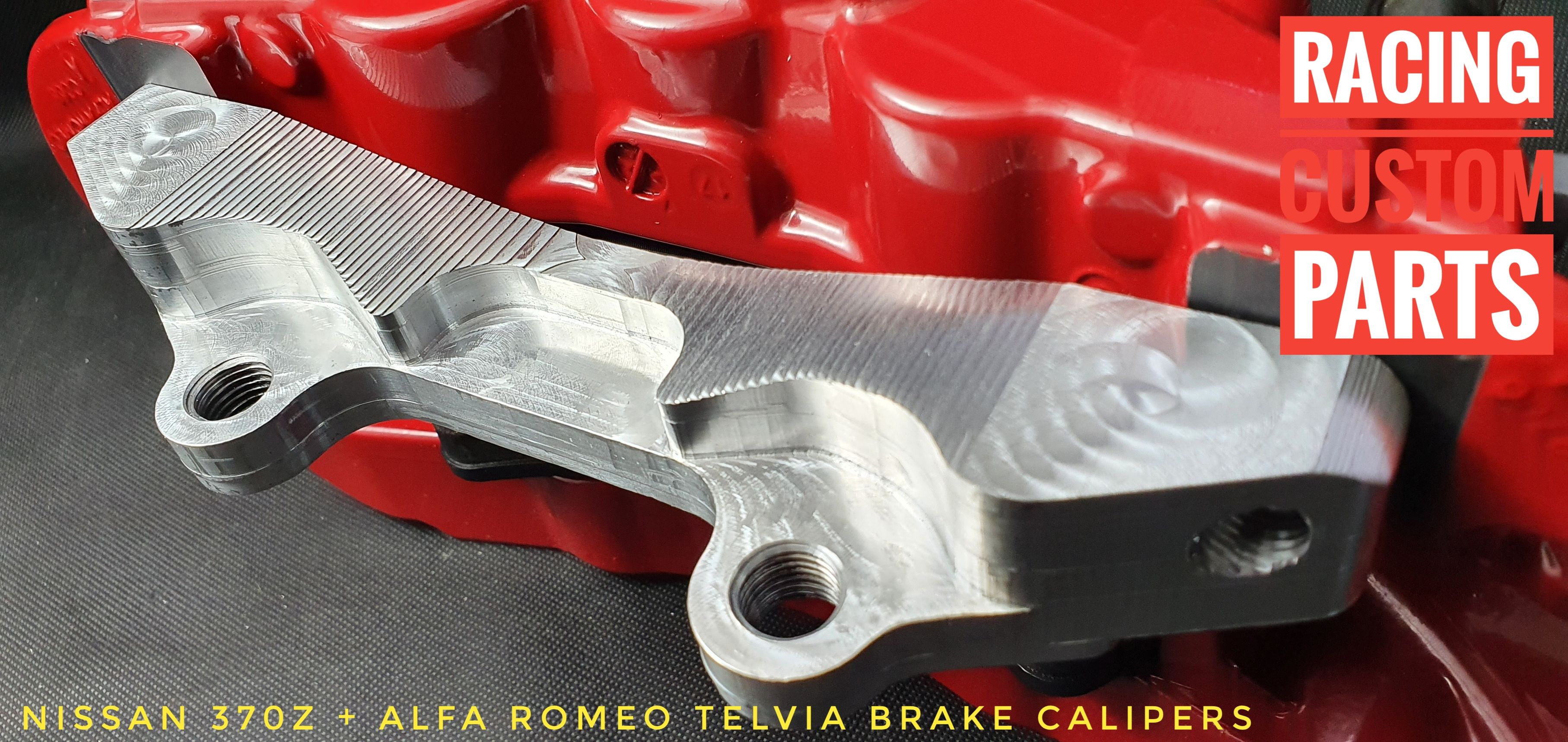 Nissan 370Z alfa romeo telvia brake calipers adapters billet cnc racing custom parts big brake kit