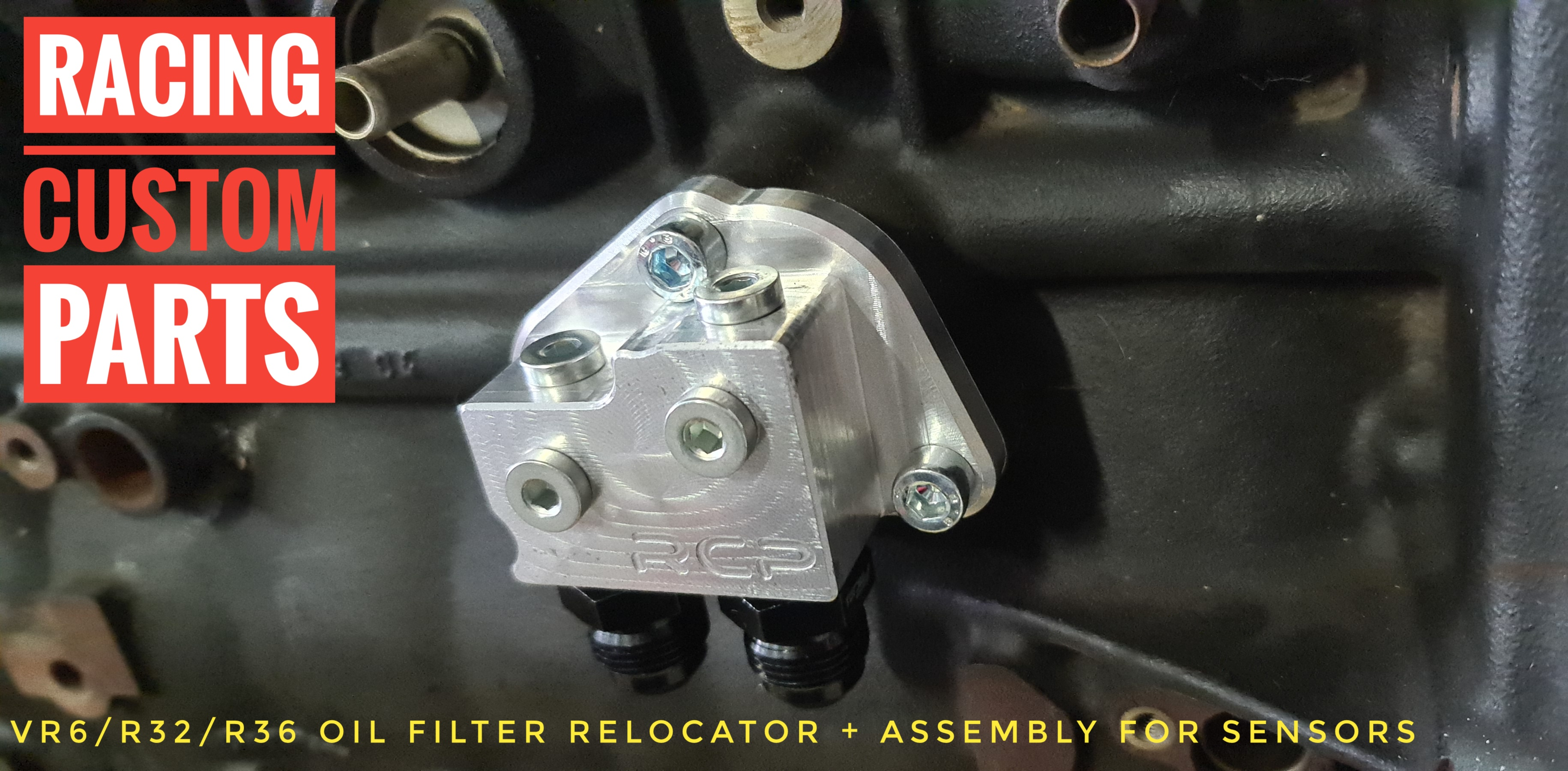 vr6 r32 r36 oil filter relocator oil pressure sensor oil temperature temp sensor racing custom parts billet cnc