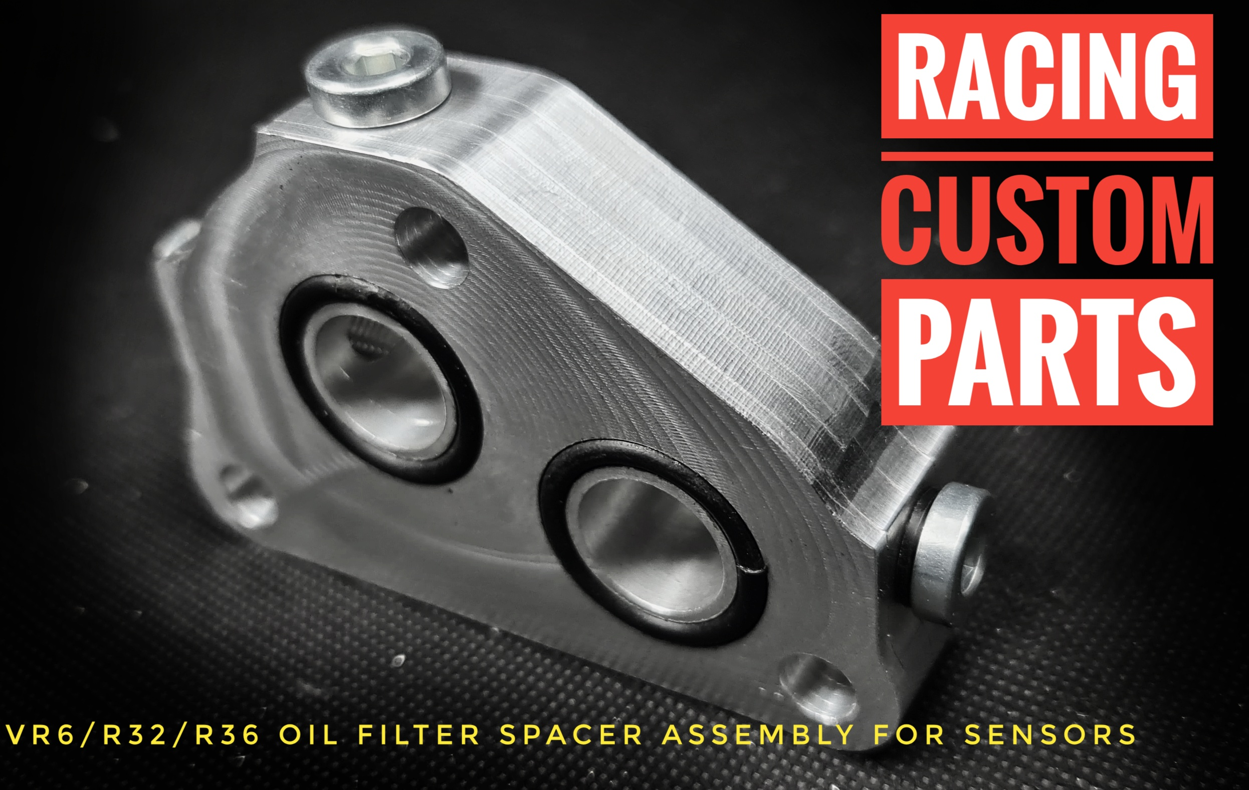 vr6 r32 r36 oil spacer assembly for sensors turbo billet cnc racing custom parts