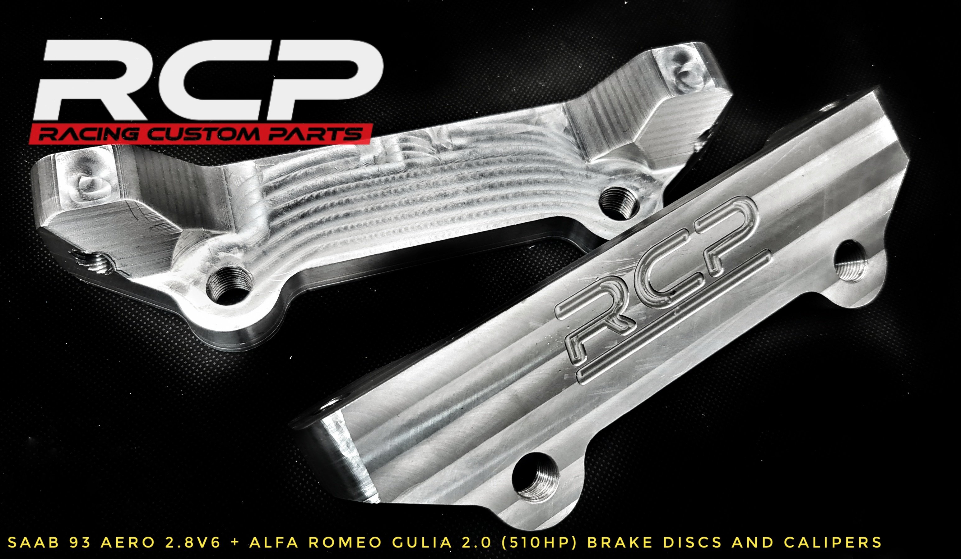 saab 93 aero 93 big brake brembo caliipers alfa romeo racing custom parts rcp billet cnc
