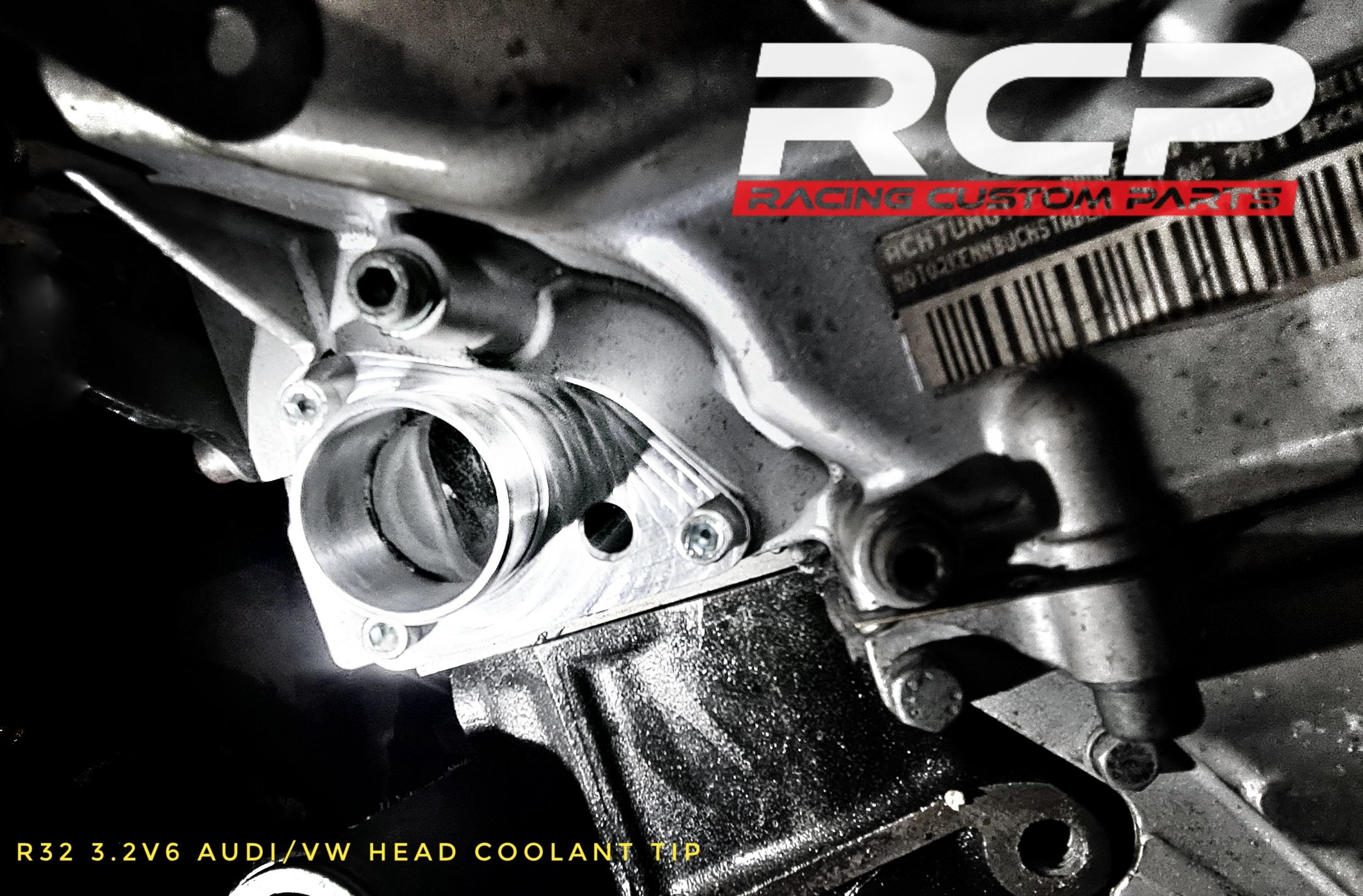 r32 3.2 v6 audi vw head coolant adapter tip turbo tuning rcp racing custom parts billet cnc