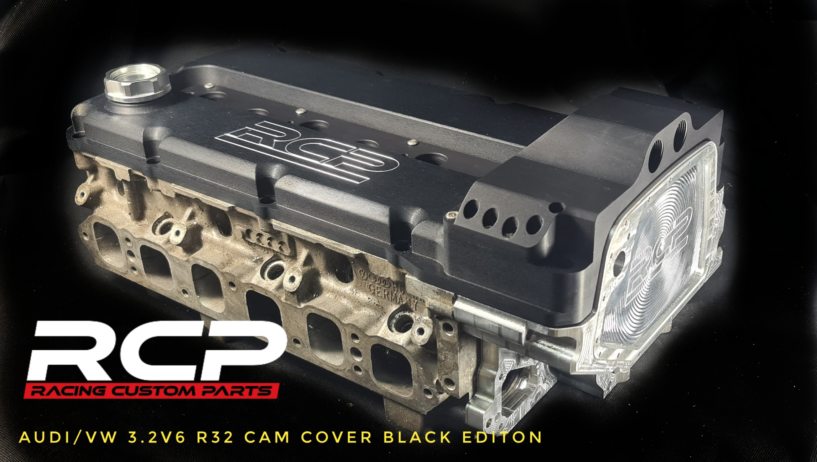 r32 vr6 r36 camcover headcover head cover cam cover cover r32 turbo r30 turbo audi turbo vw turbo vr6 rules rcp racing custom parts billet cnc billet cam cover